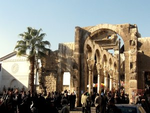 Damascus: the Jupiter temple (III A.C.) in front of Omayyad mosque